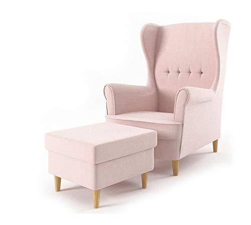 Sofini Ohrensessel Milo mit Hocker! Sessel für Wohnzimmer & Esszimmer! Skandinavisch, Relaxsessel aus Webstoff, Best Sessel! (Beauty 4)