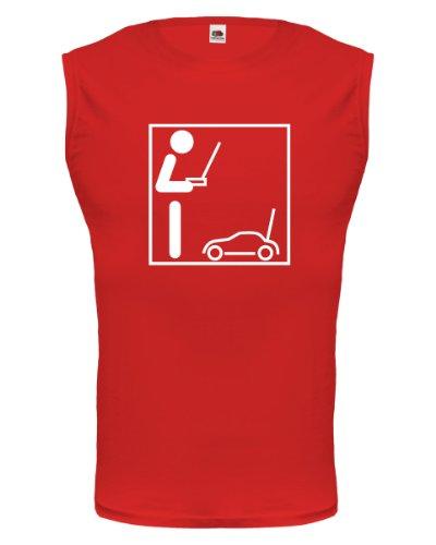 buXsbaum® Tank Top Modellauto-Piktogramm Red-White