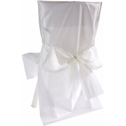 Feste e decorazioni - 10 coprisedie in raso con fiocco - bianco