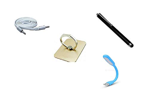 Trendikas Combo of Aux Cable, Stylus, USB Light & Mobile Phone Ring for Coolpad Dazen 1