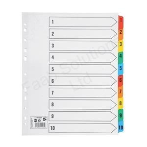 5Star Maxi Index Extrabreite 230Mikron-Karte mit Farbige Mylar-Reiter 1-10A4weiß (Reiter 5 7)