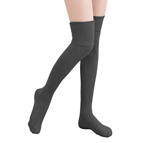 HITOP 1 Paar Damen Overknee Überknie Kniestrümpfe Mädchen Hold-up-Strümpfe Retro Schüler Knitting Sportsocken (Dunkel Grau)