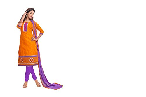 Viva N Diva Women's Orange Color Pure Jacquard Straight Cut Embroidered Salwar...