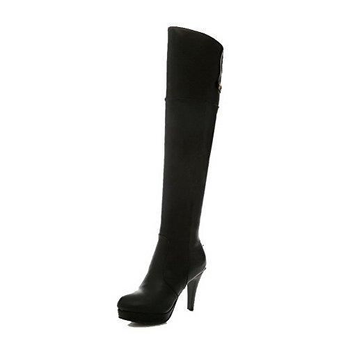AllhqFashion Damen Rein Hoher Absatz Rund Zehe Blend-Materialien Ziehen auf Stiefel, Schwarz, 39
