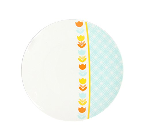 Novastyl 8018328 Lot DE 6 Assiettes Dessert Retro Time DECOREE en Porcelaine DIAMETRE 19CM-8018328, Céramique, Multi Couleurs, 19 cm