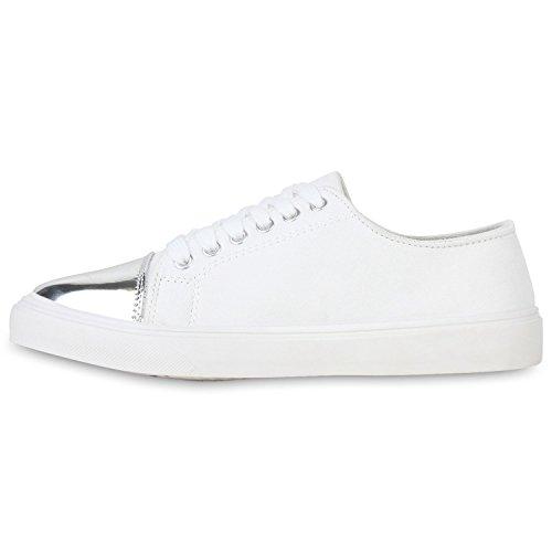 Damen Sneakers Low Metallic Turnschuhe Schnürer Black & White Weiß