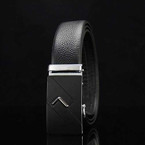WJJP Herren Business Ledergürtel, verstellbarer Bund aus echtem Leder mit Ratsche, automatischer Gürtelschnalle, ideal for Jeans, Freizeit-, Cowboy- und Arbeitskleidung (Farbe : #1, Größe : 45.3in)