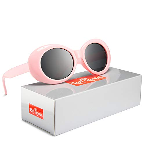 Rocf Rossini Clout Goggles Frauen Oval Sonnenbrille Kurt Cobain Sonnenbrille Runde Retro Shades für Männer UV400 Schutz Candy Farbe (Rosa/Grau)