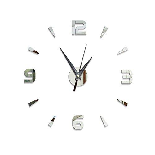Acrilico adesivi murali campana creativo elegante soggiorno divano sfondo muro arredo fai da te digitale specchio orologio da parete,silver-28*28cm