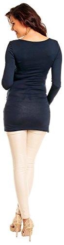 Zeta Ville- donna - miniabito in jersey - top tunica vestito manica lunga - 941c Marina