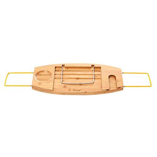 Duo baldas Bandeja de bambú de la Bandeja de la Bandeja de la bañera de la bañera de bambú con los Lados Que se extienden, el Estante de Lectura, el Tenedor de la Tableta, la Bandeja del teléfono móv