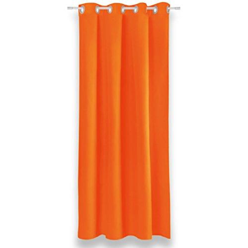 Verdunklungsgardine mit Universalband und Ösen Aufhängung, modernes Wohnaccessoire bietet hervorragenden Blendschutz und ist in vielen verschiedenen Farben erhältlich (Ösenschal/orange - dunkelorange/135x175 cm)