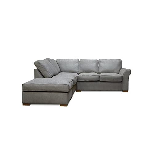 HUGO Corner Sofa Set Including Detachable Footstool (Silver, Right Hand-Scatter Back)