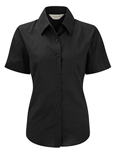 Russell Collection Damen Short Sleeve Easy Care Oxford Shirt Schwarz