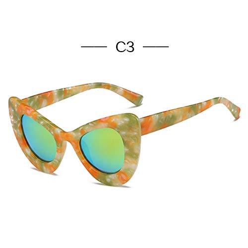GJYANJING Sonnenbrille Cat Eye Sonnenbrille Frauen Mode Großen Rahmen Schmetterling SonnenbrilleRetro Gelb Glssses Famale Spiegel Brillen Uv400