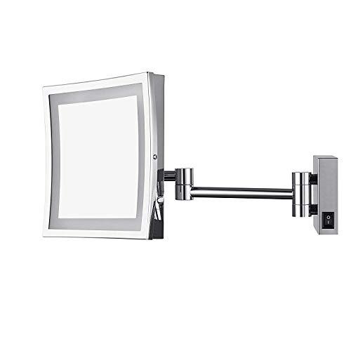 AECHOO - Espejo montado en pared para maquillarse y afeitarse, con luz LED, diseño de lujo, para hotel...