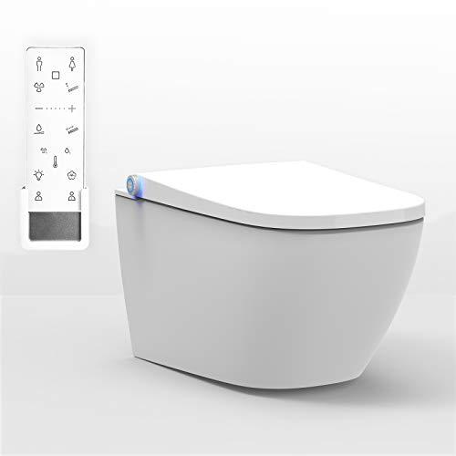 BERNSTEIN DUSCH-WC PRO+ 1104 in Weiß - Spülrandloses Dusch-WC eckig - Komplettanlage -