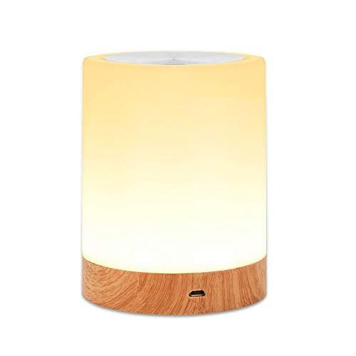 LED Nachttischlampe Akku Touch Sensor Tischlampe Kinder Nachtlicht aus Holz mit 256 RGB Farbwecksel, Warmweiß für Kinderzimmer