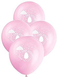 Unique Party- Globos de Látex Baby Shower con Elefante, 8 Unidades, Color rosa, 30 cm (41665)