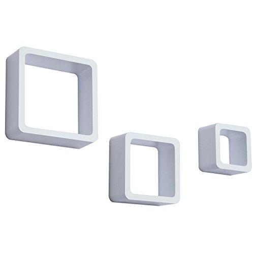 Homcom Etagères murales Cubes Design Contemporain lot DE 3 Étagères flottantes en MDF Blanc 65