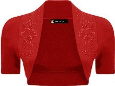 Momo Fashions Damen-Bolero kurzärmlig, Größen 34-40 Rot