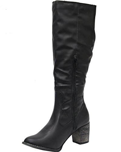 ... Mesdames pour femme en cuir synthétique Mollet Genou Haute Zip Soufflet  Bloc Talon Bottes Chaussures Taille ...