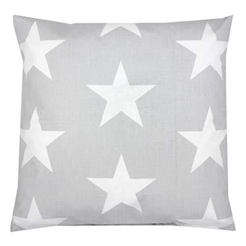 TupTam Funda de Almohada con Diseños para Niños, Gris Grandes Blanco Estrellas, 40 x 40 cm