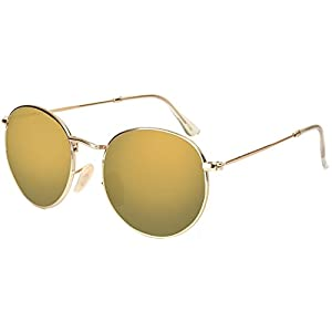 U.S. CROWN Round Shape Style Metal Frame sunglasses for men and women with Case