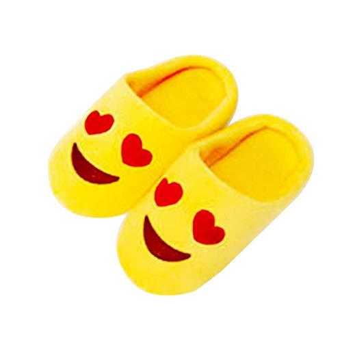 (szseven Emojis Plüsch Hausschuhe Winter Unisex Frauen Emoticon Schuhe Warme Rutschfeste Stoßfest Weiche, Flauschige Baumwolle Hausschuhe Winter für Kinder Kinder Jungen Mädchen Damen Erwachsene)