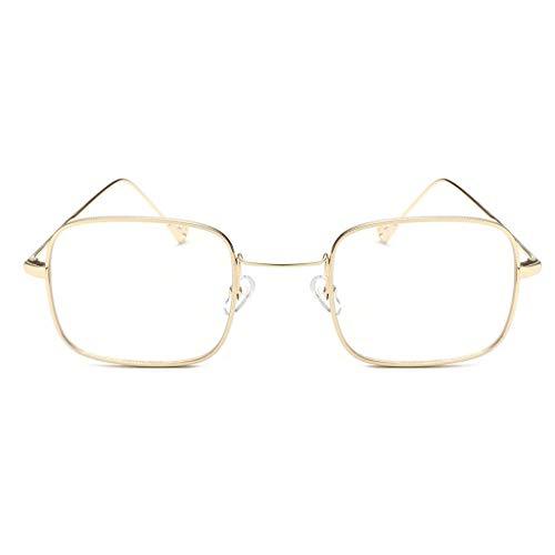 EUCoo Damen Herren Sonnenbrillen Fine Metal Brillengestell Fashion Square Fluoreszierende Sonnenbrillen(B)