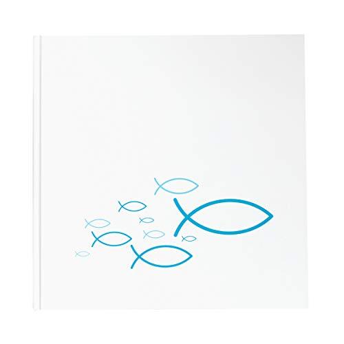 in due Gästebuch Fische türkis blau weiß 21 x 21 cm, 144 Seiten weißes Papier blanko Ichthys Kommunion Taufe