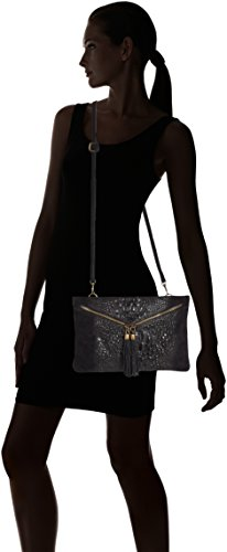 CTM Pochette da donna, borsetta a spalla in vera pelle made in Italy - 29x19x2 Cm Nero