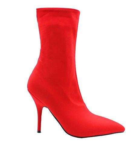 Guoar High Heels Damen Spitzschuh Rutsch Stiefeletten Mehrfarbe Stiletto 11 CM Mitte der Wade Halbschaft Stiefel Rot