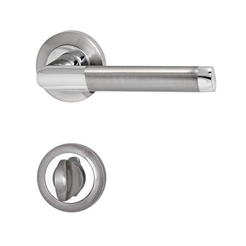 Türbeschläge, Türgriff für Zimmertüren - Innentüren - Holztüren C127QX1- CP/SN (Wc - Badezimmer) -