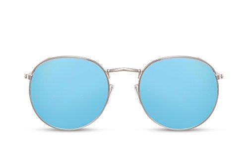 Cheapass Sonnenbrille Rund Verspiegelt-e Brille Silber Blau UV-400 Vintage Metall-Rahmen Damen Herren
