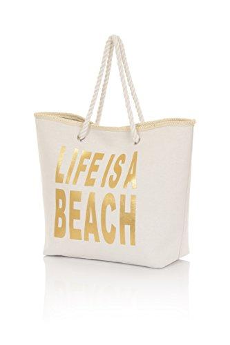 Boutique, Large Pour Femmes Toile Été Plage Sac Shopping Fourre-tout Beach Gold