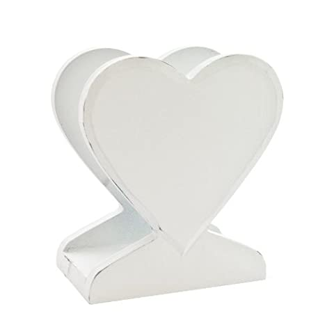 Gisela Graham Distressed White Carved Heart Letter Rack Or Napkin Holder