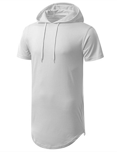 AIYINO Herren Kurzarm Langarm Hoodie T-Shirt 100% Baumwolle Kapuzenshirt  Weiß ... 6ff4e501e5