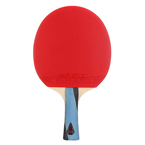 REIZ Kurzer oder langer Griff Shake-Hand Tischtennisschläger 4 Sterne Ping Pong Paddel Professioneller Schläger für Matchtraining - Rot & Schwarz