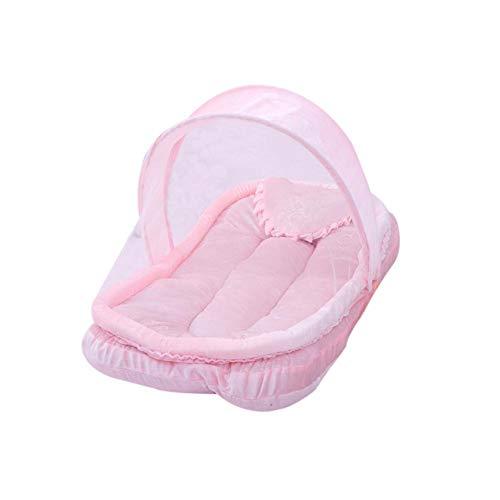 QueenHome Babyreisebett für Kleinkind mit tragbarem Falten Babyreisebett Kinderbett Neugeborene Faltbare Krippe Ultradünnes Sommer-Moskitonetz für Kinder einschließlich Zeltmattenkissen pink
