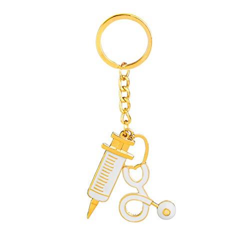 WEILYDF Arzt Keychain Einzigartige Persönlichkeit Spritze Stethoskop Anhänger Schlüsselanhänger Cartoon Bunte Handtasche Anhänger Schlüsselanhänger