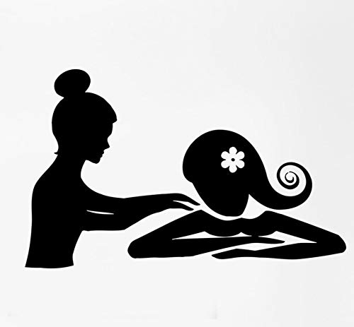 Qqasd Spa Massage Therapie Entspannen Schönheit Frau Aufkleber Salon Abnehmbare Wand Dekor Applique Silhouette Selbstklebende Tapete 90X56 Cm (Anlage-therapie)