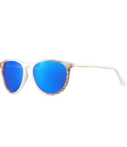 caripe Retro Sonnenbrille Damen Herren Hornbrille Metallbügel Vintage verspiegelt + getönt - 139 (big - weiß- blau verspiegelt-LS9920)