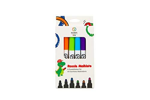 Roxxies Malkiste: 6 Zusatzfarben für ein bunteres Malerlebnis zum Ausmalen von Roxxies Kinder-Tischunterlage aus Silikon - 6 atoxische und wasserlösliche Filzstifte nach deutschem Standard