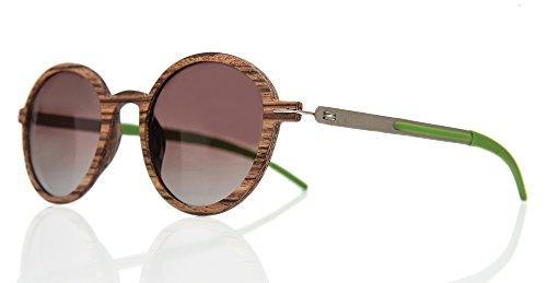Barkey - Denver Braun Lens - Holz Sonnenbrille Herren und Damen Polarisiert - 100% Echtholz Handgefertigt