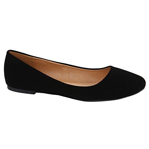 Klassische Damen Ballerinas Leder-Optik Basic Freizeit Schuhe 130890 Schwarz Total 42 Flandell