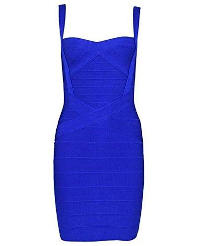 Whoinshop Damen Rayon Nettes Ärmellos Bodycon Abendkleid Sommerkleid Verbandkleid … (S, Royal)