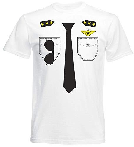 (aprom Pilot Kostüm T-Shirt Fasching Gruppenkostüm Karneval PIL O (S))