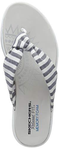 Skechers Upgrades, Chanclas para Mujer, Azul Blue Nvy, 36 EU