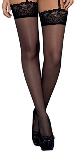 Selente verführerische Damen Straps-Strümpfe mit Edler Spitze, in hübscher Geschenkbox, Made in EU, schwarz-2, Gr. L/XL